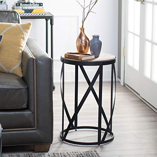 Rustic Industrial Modern Farmhouse Natural Reclaimed Wood Black Metal Round End Table Side Table Accent Table Owen Collection 0 0