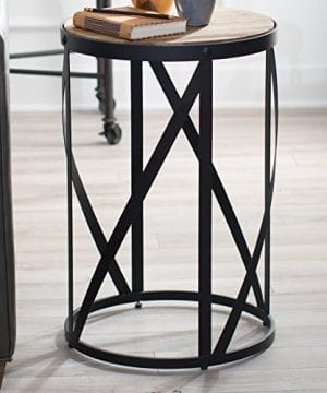 Rustic Industrial Modern Farmhouse Natural Reclaimed Wood Black Metal Round End Table Side Table Accent Table Owen Collection 0 2 300x360