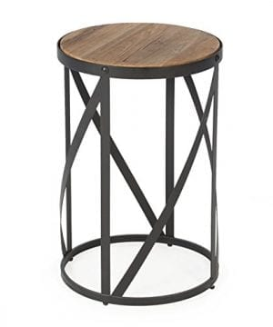 Rustic Industrial Modern Farmhouse Natural Reclaimed Wood Black Metal Round End Table Side Table Accent Table Owen Collection 0 300x360