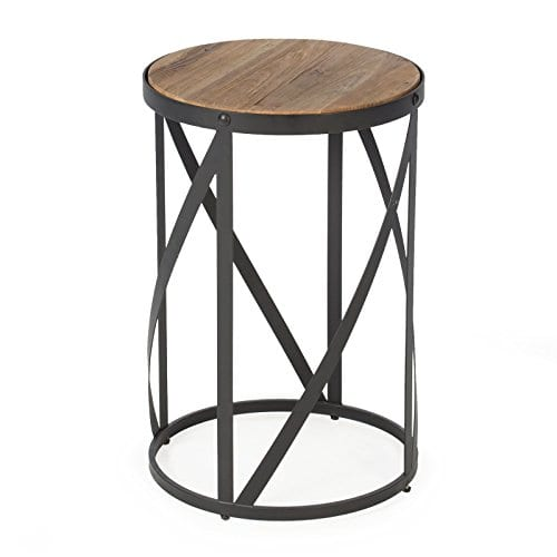 Rustic Industrial Modern Farmhouse Natural Reclaimed Wood Black Metal Round End Table Side Table Accent Table Owen Collection 0