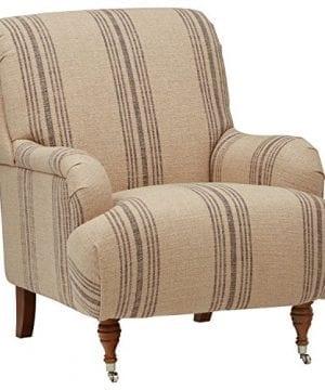 Groovy Stone Beam Aubree Farmhouse Accent Chair 32W Striped Grey Linen Ibusinesslaw Wood Chair Design Ideas Ibusinesslaworg