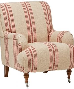 Stone Beam Aubree Farmhouse Accent Chair 32W Striped Red Linen 0 300x360