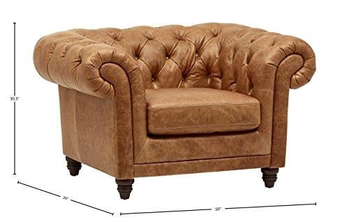 Stone Beam Bradbury Chesterfield Modern Chair 50W Cognac 0 1