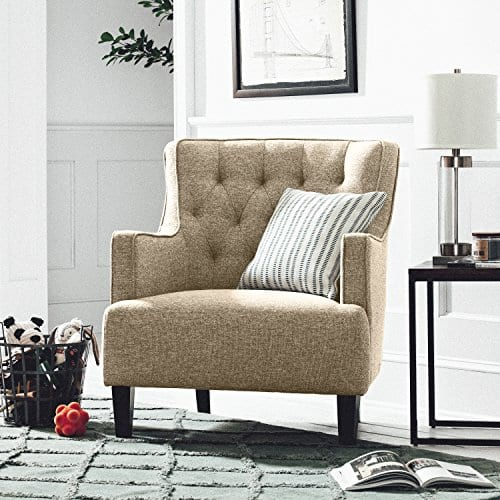Stone Beam Decatur Modern Tufted Accent Chair 32W Chair Oatmeal 0 3