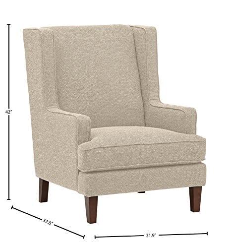 Stone Beam Highland Modern Wingback Accent Chair 32W Oatmeal 0 3