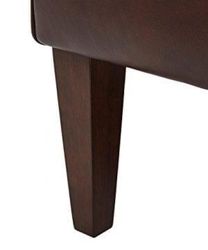 Stone Beam Mid Century Modern Leather Wingback Chair 36W Chestnut 0 0 300x360