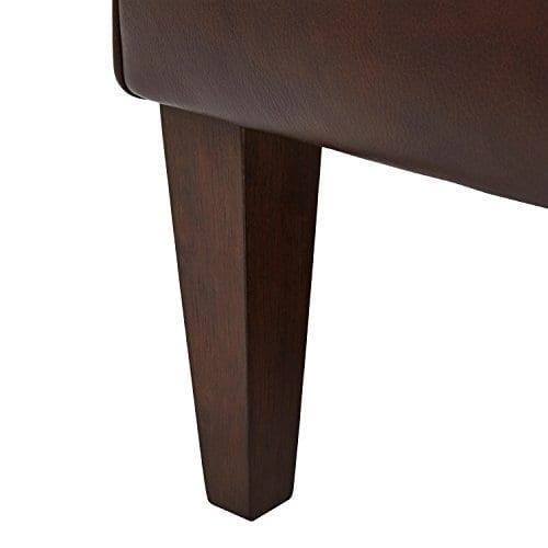 Stone Beam Mid Century Modern Leather Wingback Chair 36W Chestnut 0 0