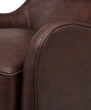 Stone Beam Mid Century Modern Leather Wingback Chair 36W Chestnut 0 1 300x360