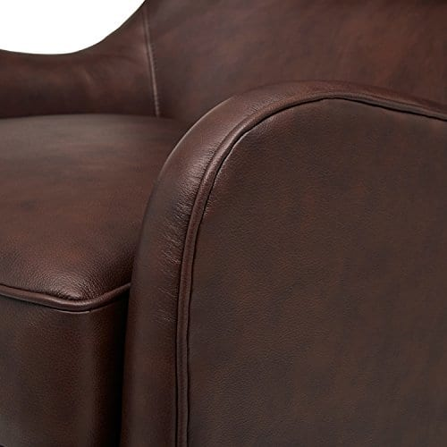 Stone Beam Mid Century Modern Leather Wingback Chair 36W Chestnut 0 1