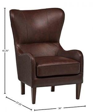 Stone Beam Mid Century Modern Leather Wingback Chair 36W Chestnut 0 2 300x360