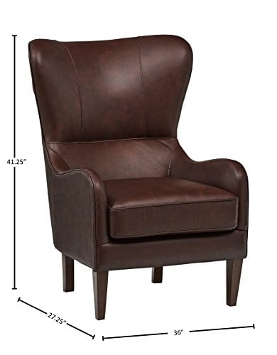 Stone Beam Mid Century Modern Leather Wingback Chair 36W Chestnut 0 2