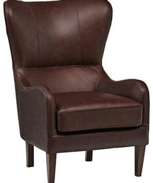 Stone Beam Mid Century Modern Leather Wingback Chair 36W Chestnut 0 300x360