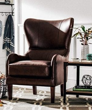 Stone Beam Mid Century Modern Leather Wingback Chair 36W Chestnut 0 4 300x360