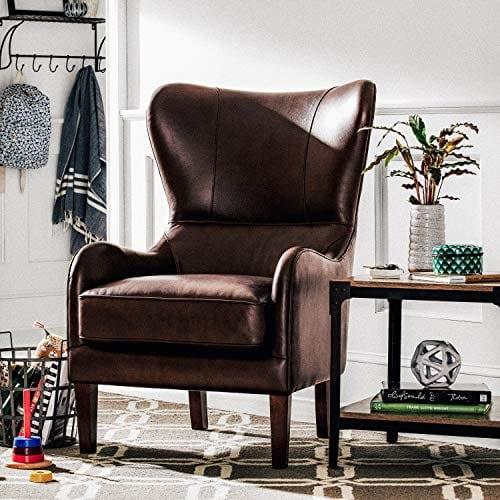 Stone Beam Mid Century Modern Leather Wingback Chair 36W Chestnut 0 4