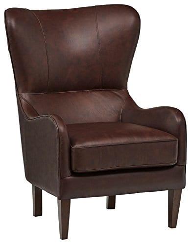 Stone Beam Mid Century Modern Leather Wingback Chair 36W Chestnut 0