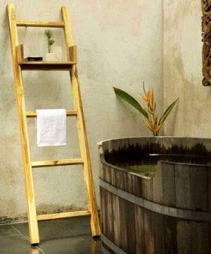 Towel Ladder Farmed Teak Hand Doweled 18 W X 64 Inch Ht W Eco Friendly Teak Oil 0 300x360