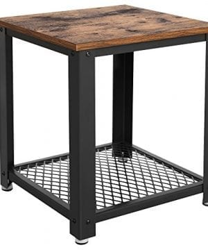 VASAGLE Industrial End 2 Tier Side Table With Storage Shelf Sturdy And Easy Assembly Wood Look Accent Furniture With Metal Frame ULET41X Vintage 0 300x360