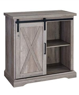 Walker Edison Furniture Company 32 Rustic Farmhouse Barn Door TV Stand Grey Wash 0 300x360