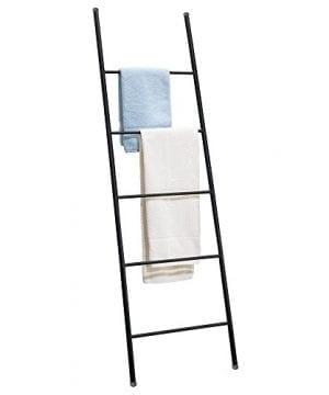 MDesign Free Standing Bath Towel Bar Storage Ladder 5 Rungs Matte Black 0 300x360