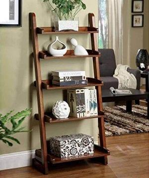1PerfectChoice Lugo 5 Shelf Ladder Storage Bookcase Display Wall Shelf Solid Wood Antique Oak 0 300x360