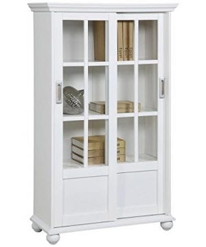 Ameriwood Home Aaron Lane Bookcase With Sliding Glass Doors White White 0 0 300x360