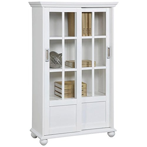 Ameriwood Home Aaron Lane Bookcase With Sliding Glass Doors White White 0 0