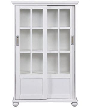 Ameriwood Home Aaron Lane Bookcase With Sliding Glass Doors White White 0 1 300x360