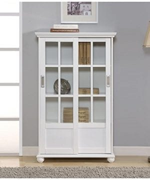 Ameriwood Home Aaron Lane Bookcase With Sliding Glass Doors White White 0 4 300x360