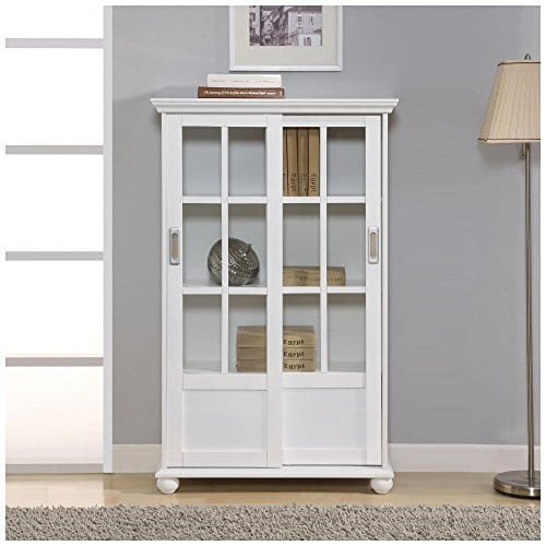 Ameriwood Home Aaron Lane Bookcase With Sliding Glass Doors White White 0 4