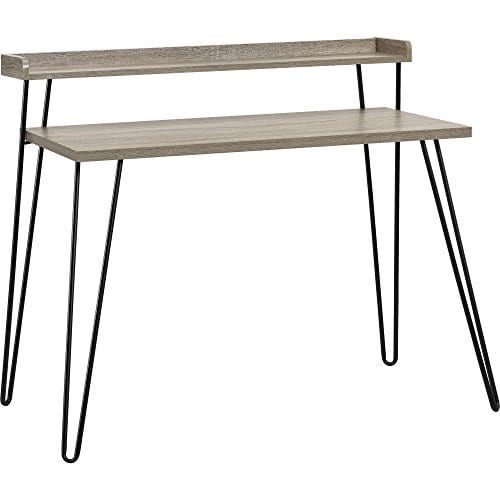 Ameriwood Home Haven Retro Desk With Riser Weathered Oak 0 0