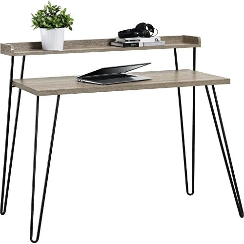 Ameriwood Home Haven Retro Desk With Riser Weathered Oak 0 1