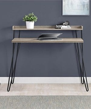 Ameriwood Home Haven Retro Desk With Riser Weathered Oak 0 2 300x360