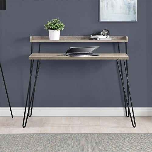 Ameriwood Home Haven Retro Desk With Riser Weathered Oak 0 2