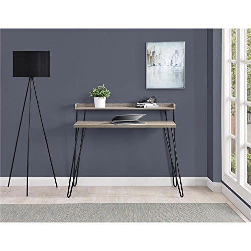 Ameriwood Home Haven Retro Desk With Riser Weathered Oak 0 3