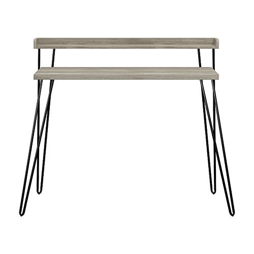 Ameriwood Home Haven Retro Desk With Riser Weathered Oak 0 5