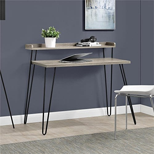 Ameriwood Home Haven Retro Desk With Riser Weathered Oak 0