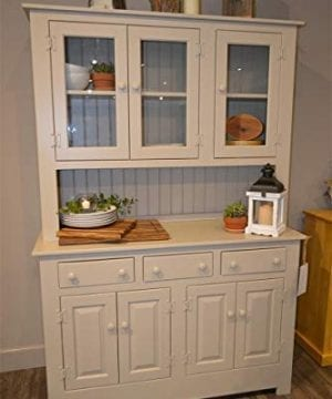 Amish Farmhouse Solid Wood Pine Buffet Hutch 74 Tall American Made Beige Cabinet 0 0 300x360