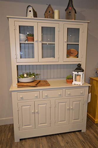 Amish Farmhouse Solid Wood Pine Buffet Hutch 74 Tall American Made Beige Cabinet 0 0