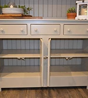 Amish Farmhouse Solid Wood Pine Buffet Hutch 74 Tall American Made Beige Cabinet 0 1 300x333