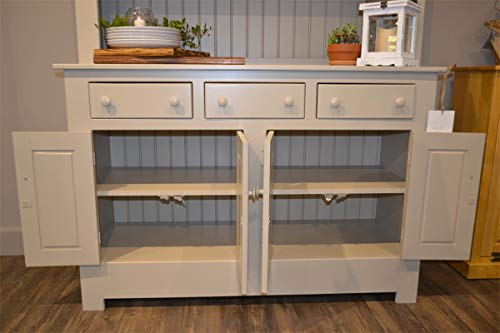 Amish Farmhouse Solid Wood Pine Buffet Hutch 74 Tall American Made Beige Cabinet 0 1