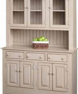 Amish Farmhouse Solid Wood Pine Buffet Hutch 74 Tall American Made Beige Cabinet 0 300x360
