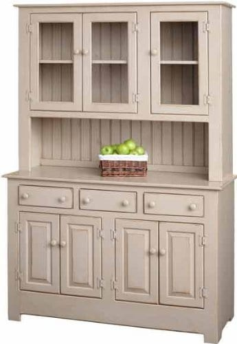 Amish Farmhouse Solid Wood Pine Buffet Hutch 74 Tall American Made Beige Cabinet 0