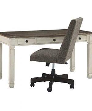 Ashley Furniture Signature Design Bolanburg Home Office Desk Casual 3 Drawers Weathered OakAntique White Finish Black Hardware 0 0 300x360