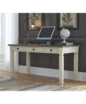 Ashley Furniture Signature Design Bolanburg Home Office Desk Casual 3 Drawers Weathered OakAntique White Finish Black Hardware 0 1 300x360
