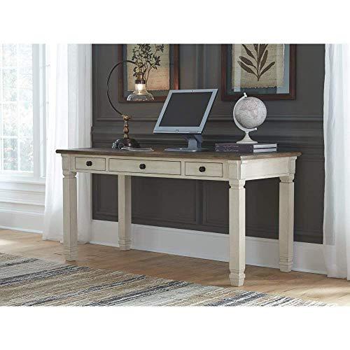 Ashley Furniture Signature Design Bolanburg Home Office Desk Casual 3 Drawers Weathered OakAntique White Finish Black Hardware 0 1