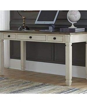 Ashley Furniture Signature Design Bolanburg Home Office Desk Casual 3 Drawers Weathered OakAntique White Finish Black Hardware 0 2 300x360