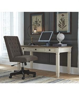 Ashley Furniture Signature Design Bolanburg Home Office Desk Casual 3 Drawers Weathered OakAntique White Finish Black Hardware 0 3 300x360