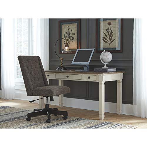 Ashley Furniture Signature Design Bolanburg Home Office Desk Casual 3 Drawers Weathered OakAntique White Finish Black Hardware 0 3
