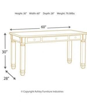 Ashley Furniture Signature Design Bolanburg Home Office Desk Casual 3 Drawers Weathered OakAntique White Finish Black Hardware 0 4 300x360