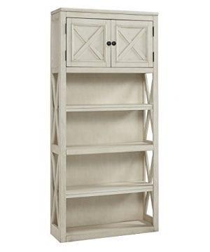 Ashley Furniture Signature Design Bolanburg Large Bookcase Casual 3 Shelves1 Cabinet Antique White Finish 0 300x360